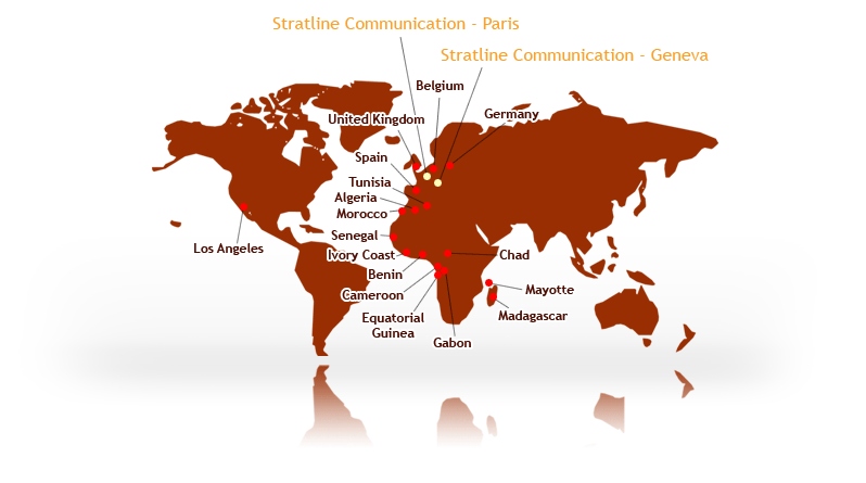 2 offices in Paris and Geneva, and an international network of partners (Los Angeles, Yaoundé, Cotonou, Tunis, Mayotte...)